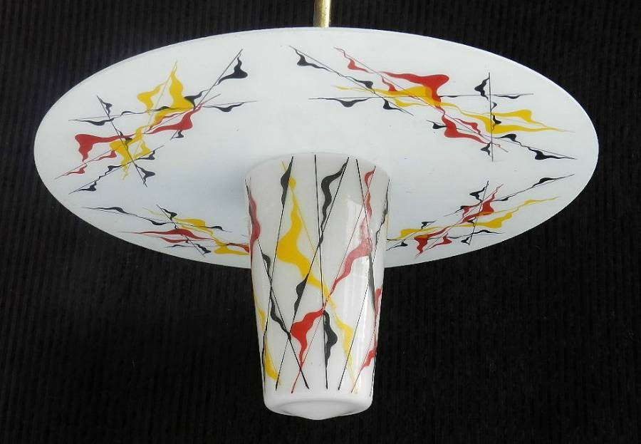 1950s Original French Glass Painted Chandelier Ceiling Light