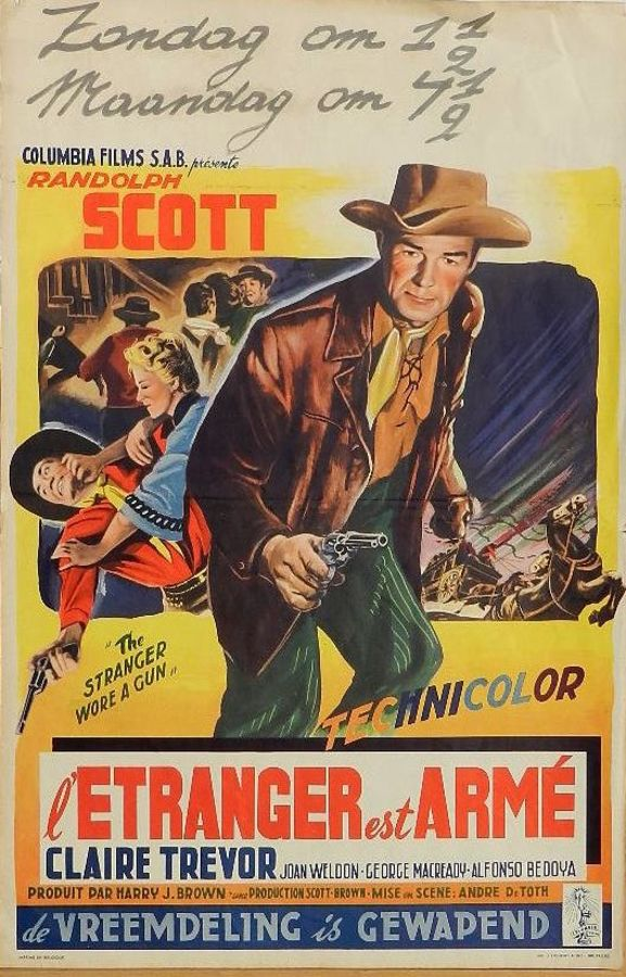 c1953 Western Original Film Poster Randolph Scott Belgian version of The Stranger wore a Gun