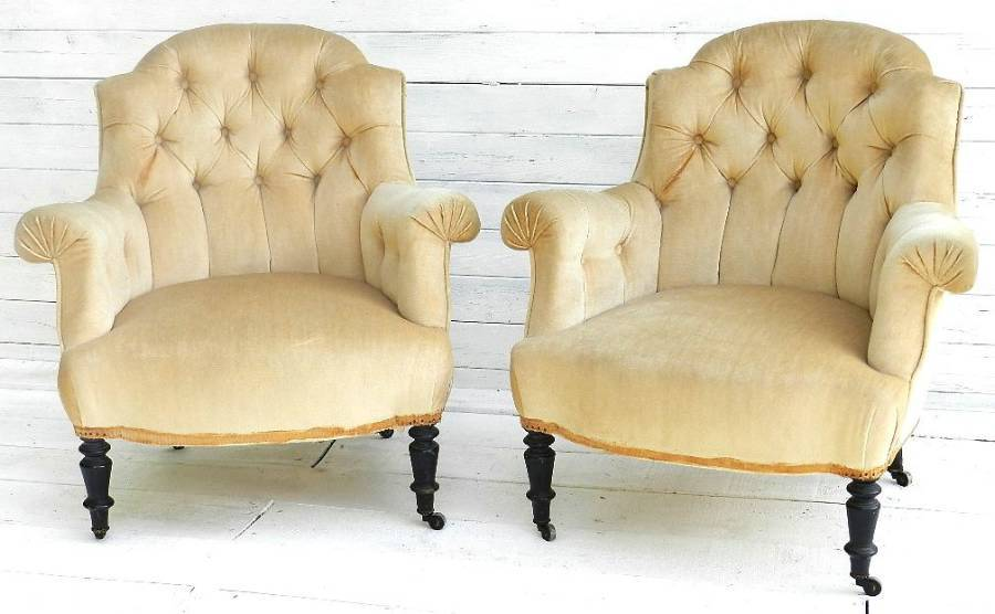 PAIR of C19 ANTIQUE FRENCH ARMCHAIRS FAUTEUILS BUTTON BACK LOUIS