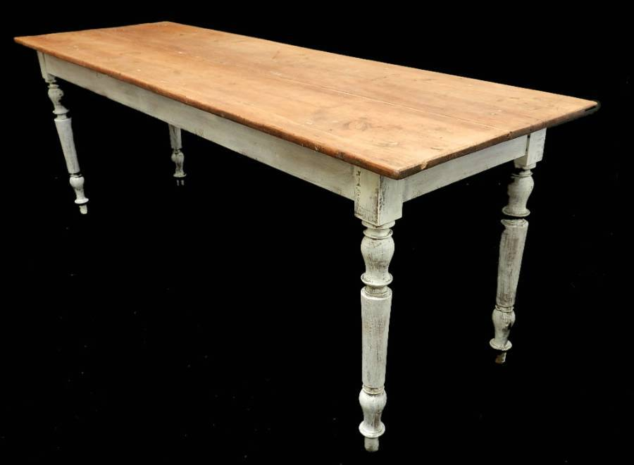 2m Long C19 French Farmhouse Scrub Top Dining Table Pine Kitchen Serving Table