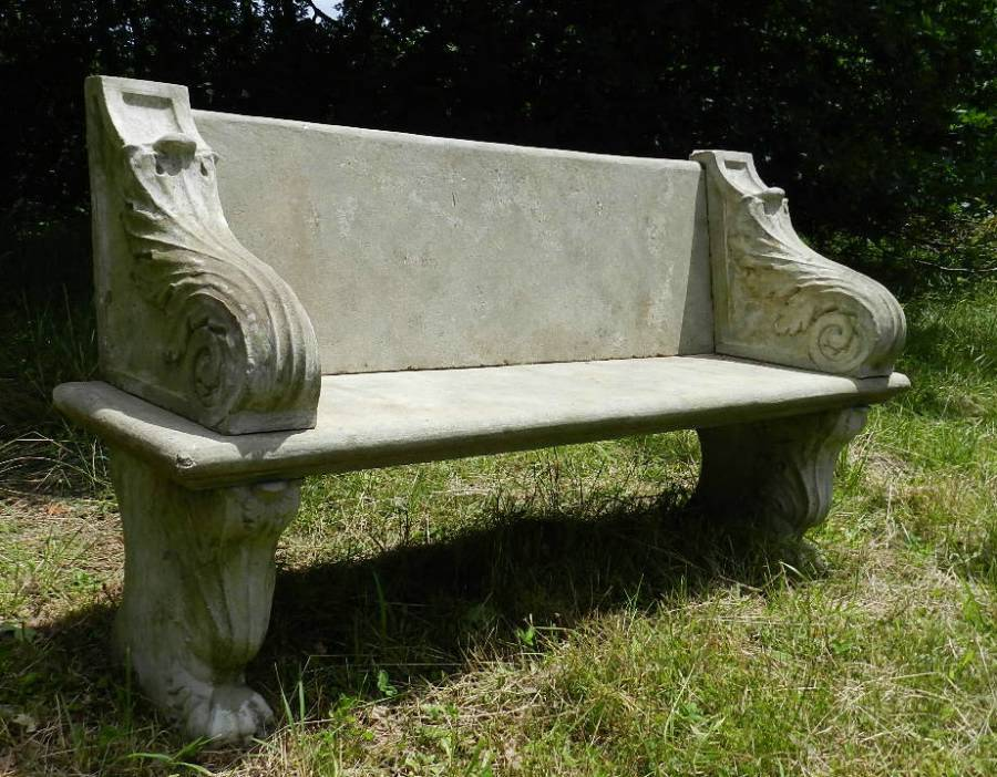 Antique Good weathered Garden Bench Composition early C20