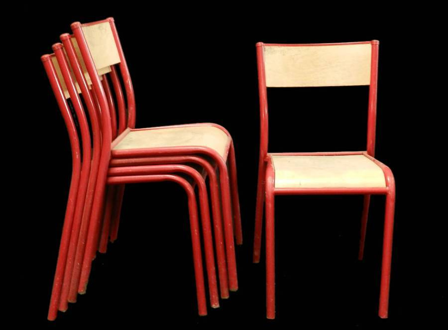 10 Red Stacking Chairs Mid Century will sell as 6  4