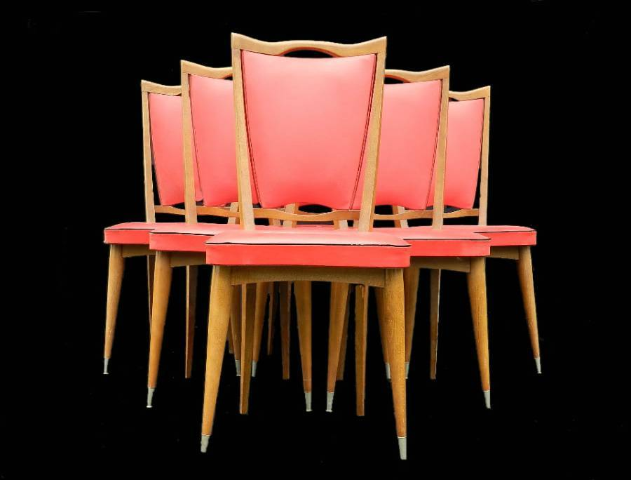 6 Red Mid Century French Dining Chairs c1960s Deco