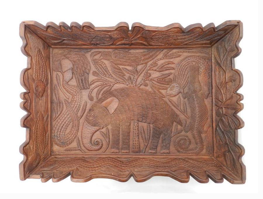 Animal Carved Wood Tray Serving Platter