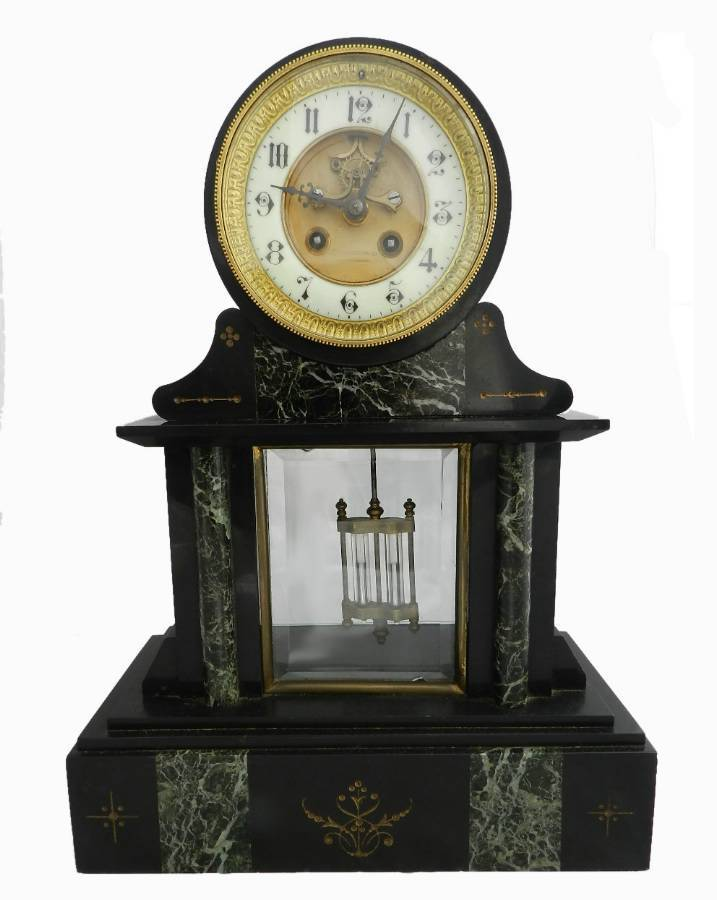 French Mantle Clock Slate  Marble Mesnard Bordeaux c1870