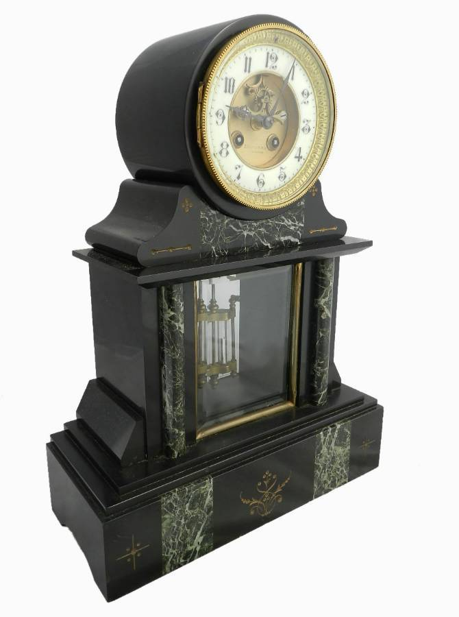 Antique French Mantle Clock Slate  Marble Mesnard Bordeaux c1870