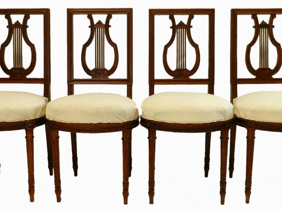 4 French Louis Chairs Lyre Back Side or Dining ready for top covers