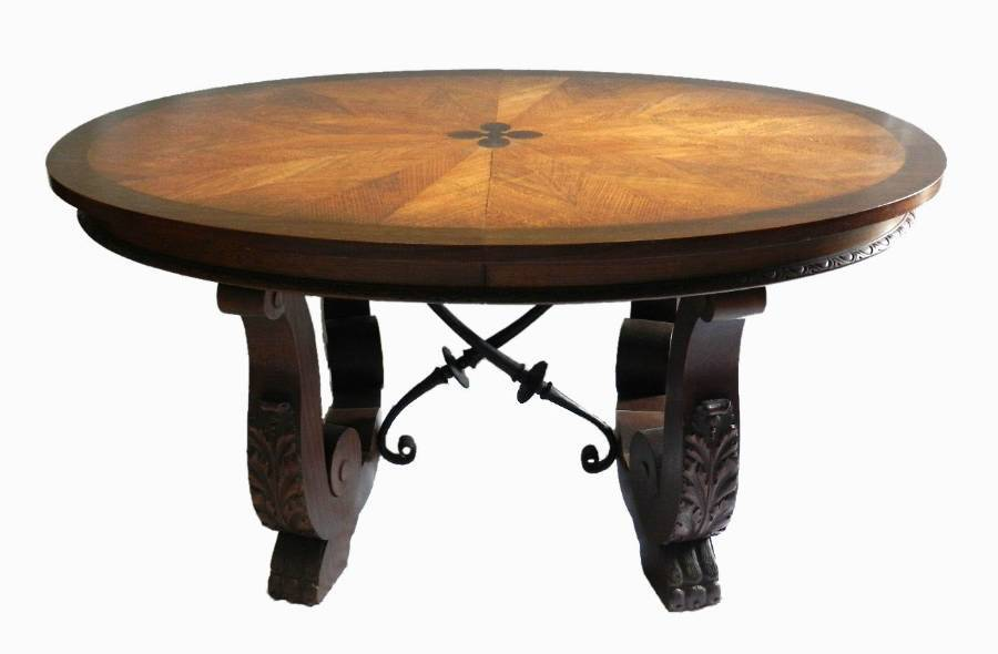 Unusual French Basque Spanish Centre  Dining Table Parquetry Inlaid Top