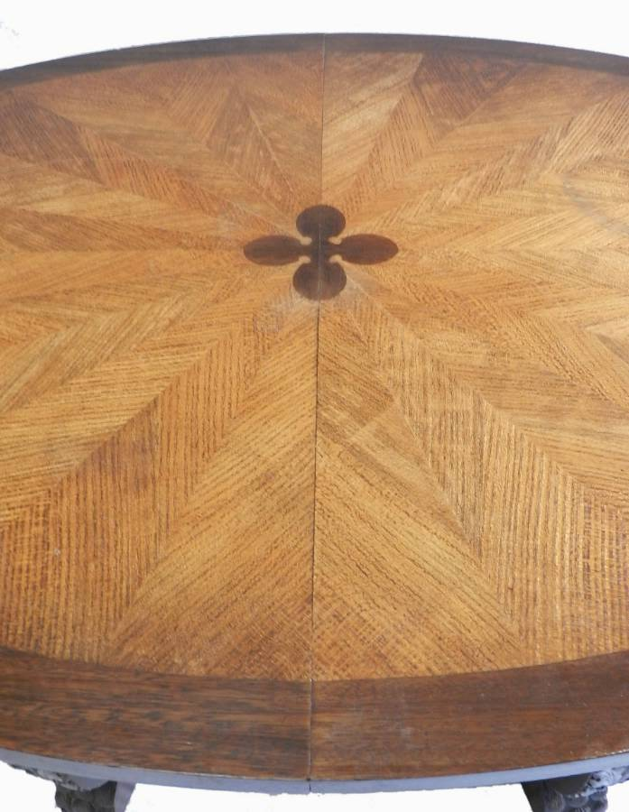 Antique Unusual French Basque Spanish Centre  Dining Table Parquetry Inlaid Top