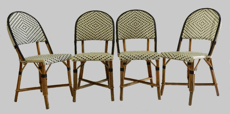 4 French Bistro Chairs Woven Maison Gatti Rattan Paris style