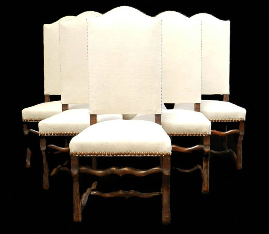 6 French Dining Chairs Os de Mouton walnut and antique Linen