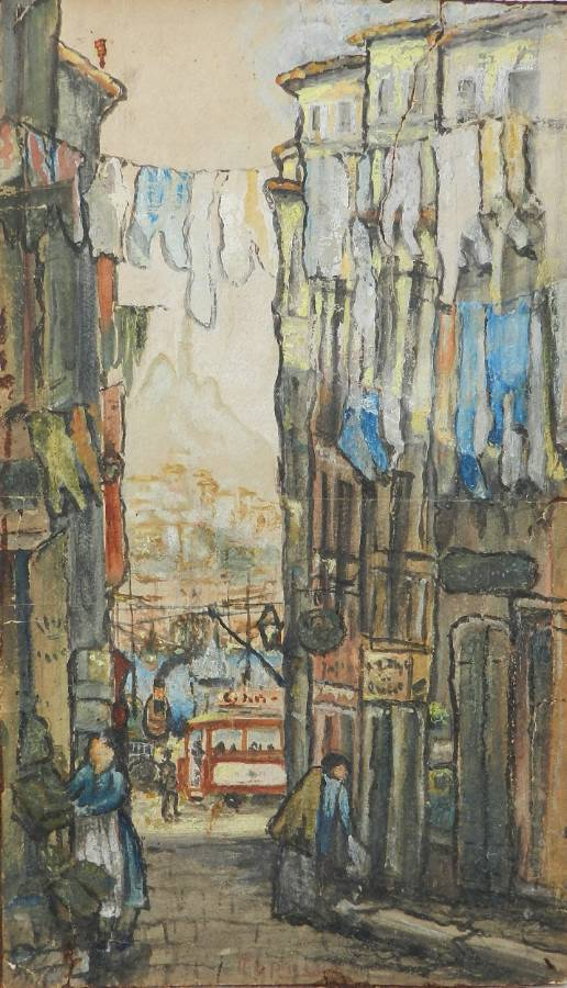 Original Painting Signed Watercolour Study of St Tropez Street Scene to Port by Alfred de La Rocca 18551915 French