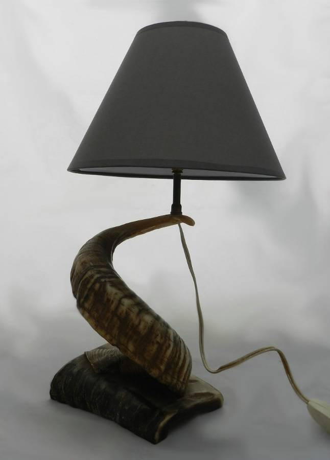 Antique Rams Horn Lamp Base Table Light