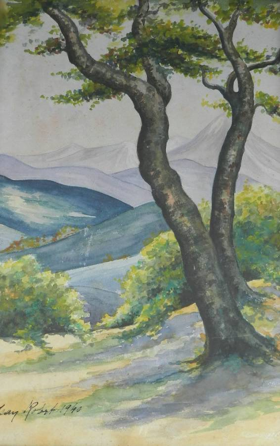 Watercolour painting view to the French Pyrenees signed  dated 1940