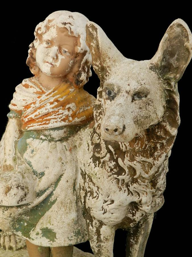 Good Companions Girl  her Dog weathered Plaster Statue