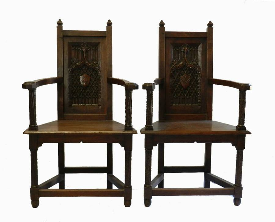 Rare Pair of French C19 Gothic Armchairs