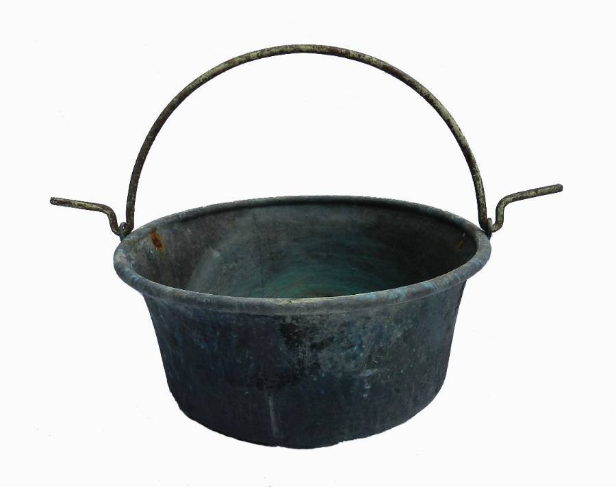 C19 French Copper Basin Hanging Bowl Planter