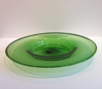 Antique Mid C20th Green Glass Plate