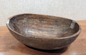 Antique Oval Wooden Bowl