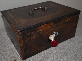 Antique 19th century steel locking under counter safe box