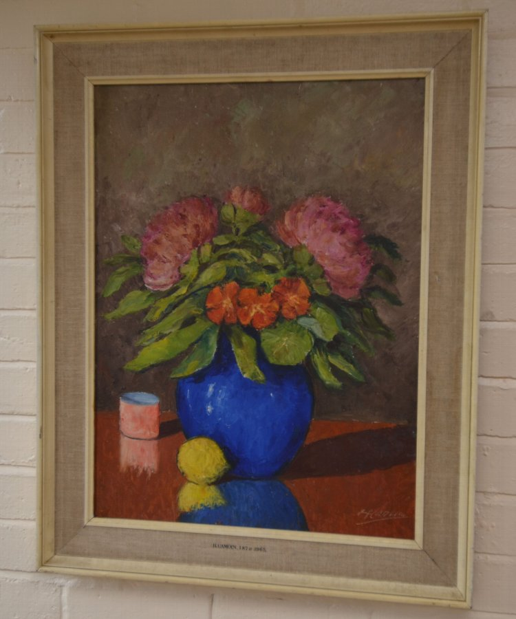 Antique Painting of flowers by C H Camoin