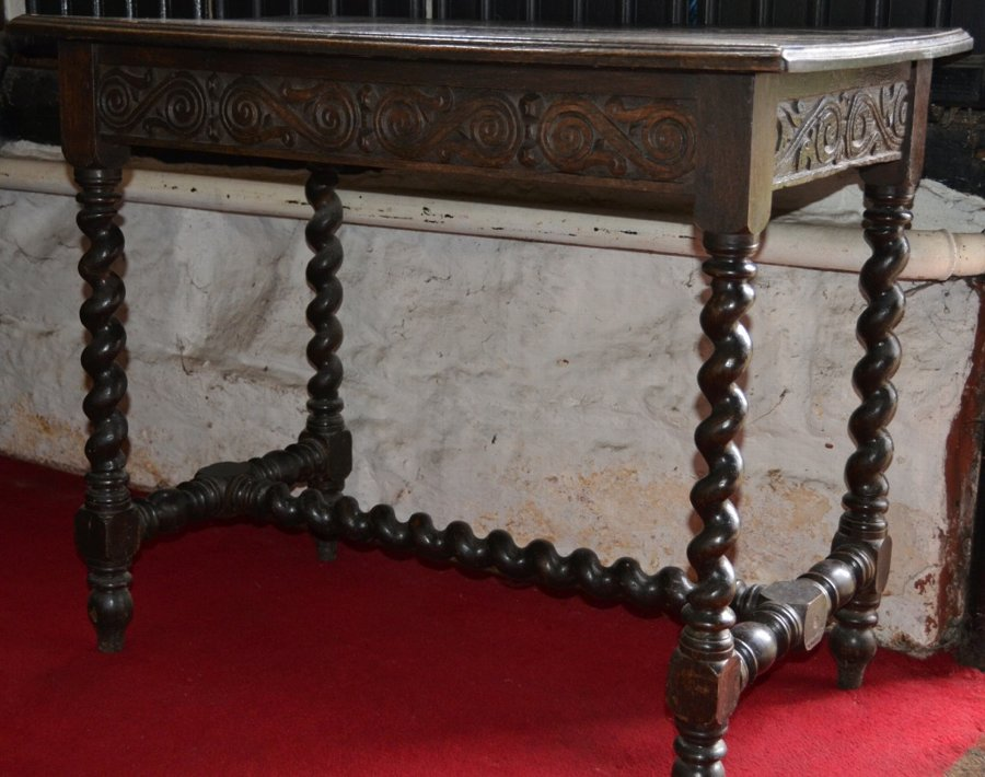 Oak carved Gothic oak desk or writing table