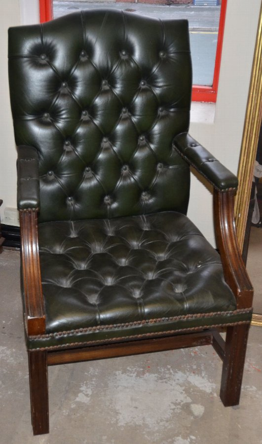 A Beautiful Chesterfield Chair and matching footstool