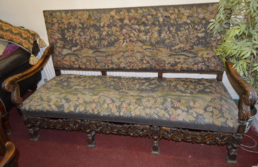 A walnut high back settee