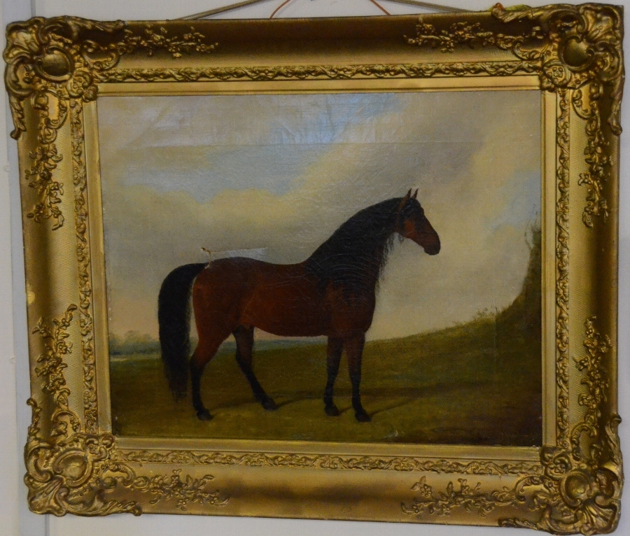 Framed picture of a horse in a meadow, signed and dated 1849