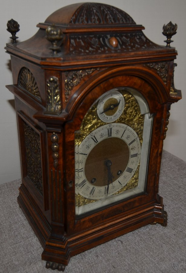 Burr Walnut Lenzkirch 1/4 Striking bracket Clock
