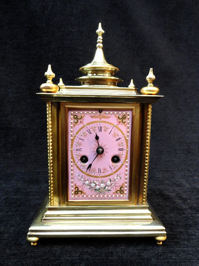 Antique TOP QUALITY PETITE 19THC FRENCH BRONZE MANTEL CLOCK WITH PINK ENAMEL ON COPPER PANELS LEROY & FILS