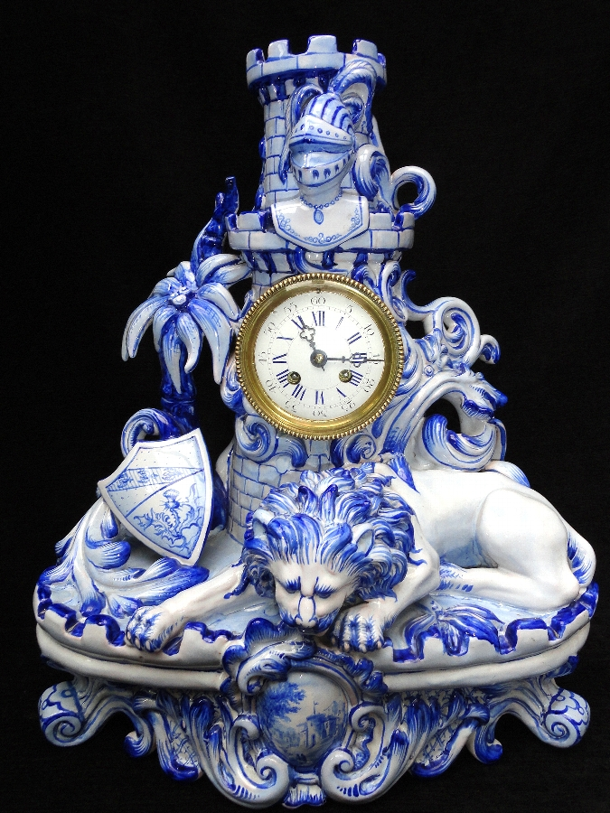 Antique RARE 19THC FRENCH FAIENCE CLOCK GARNITURE SIGNED ST.CLEMENT ATTRIBUTED TO GALLE