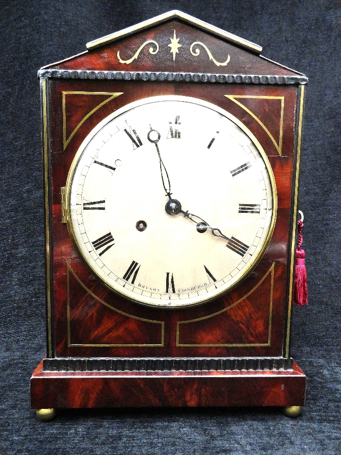 Antique REGENCY SCOTTISH FLAME MAHOGANY BRACKET CLOCK