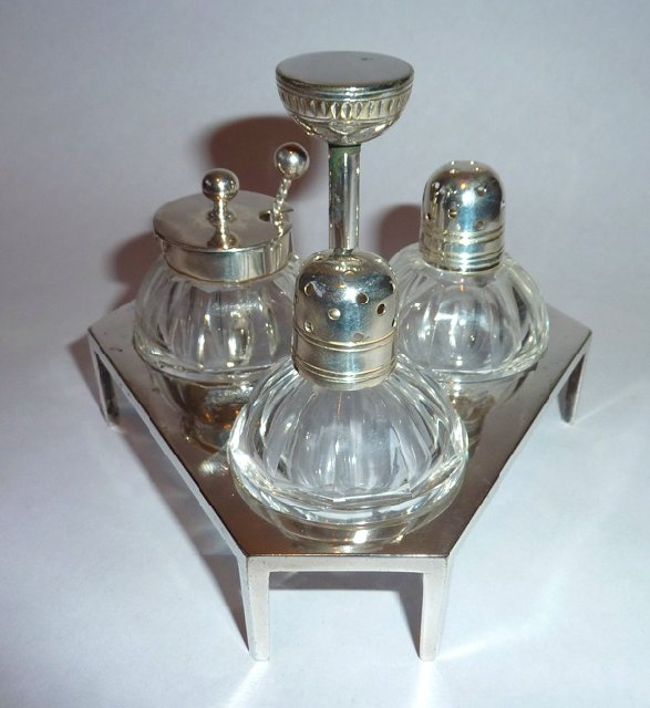 Antique  Very Rare Dr CHRISTOPHER DRESSER Hukin & Heath CONDIMENT SET