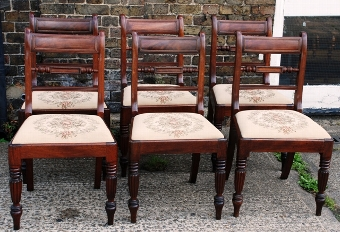 Antique Set of Six Regency Mahogany Dining Chairs