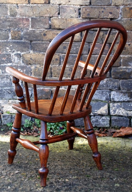 Antique Childs Ash and Elm Windsor Chair, circa 1880
