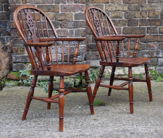 Antique Pair of late Victorian ash, elm and beech childs windsor chairs, circa 1880