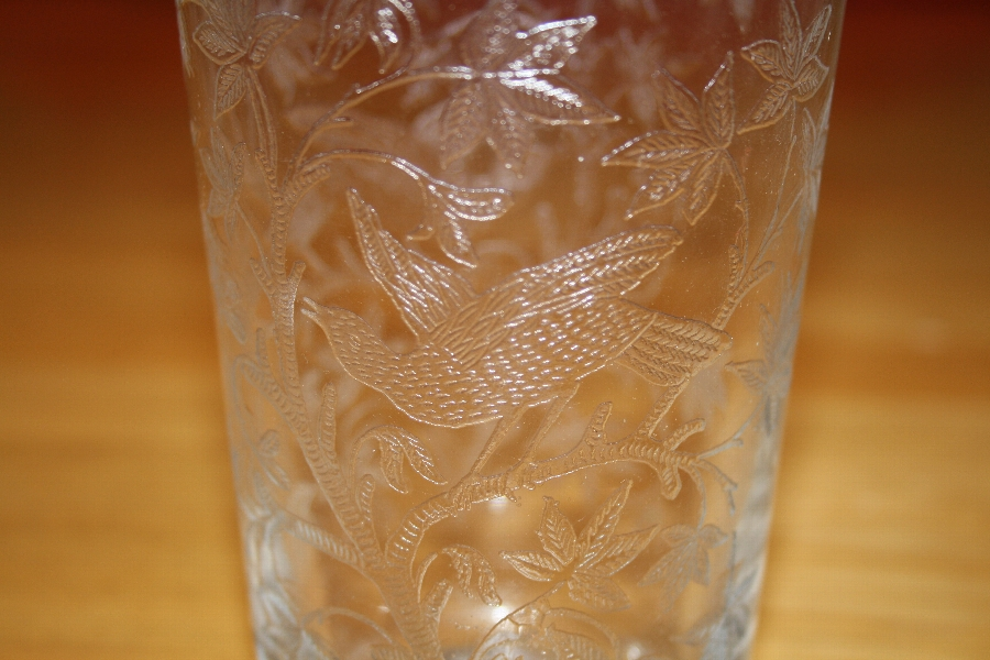 Antique Early Victorian etched glass beaker