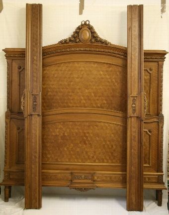 Antique Beautiful 19th Century French Carved Walnut double bed