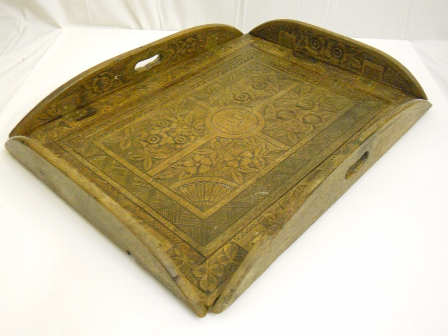 Beautiful Carved Oak Butlers Tray circa 1900