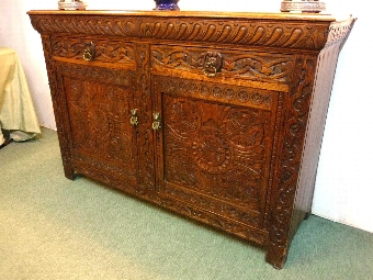 Antique French golden oak celtic Buffet sideboard Cabinet