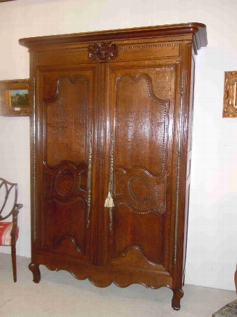 Antique French Antique original Louis XV period Normandy marriage Armoire/ Wardrobe