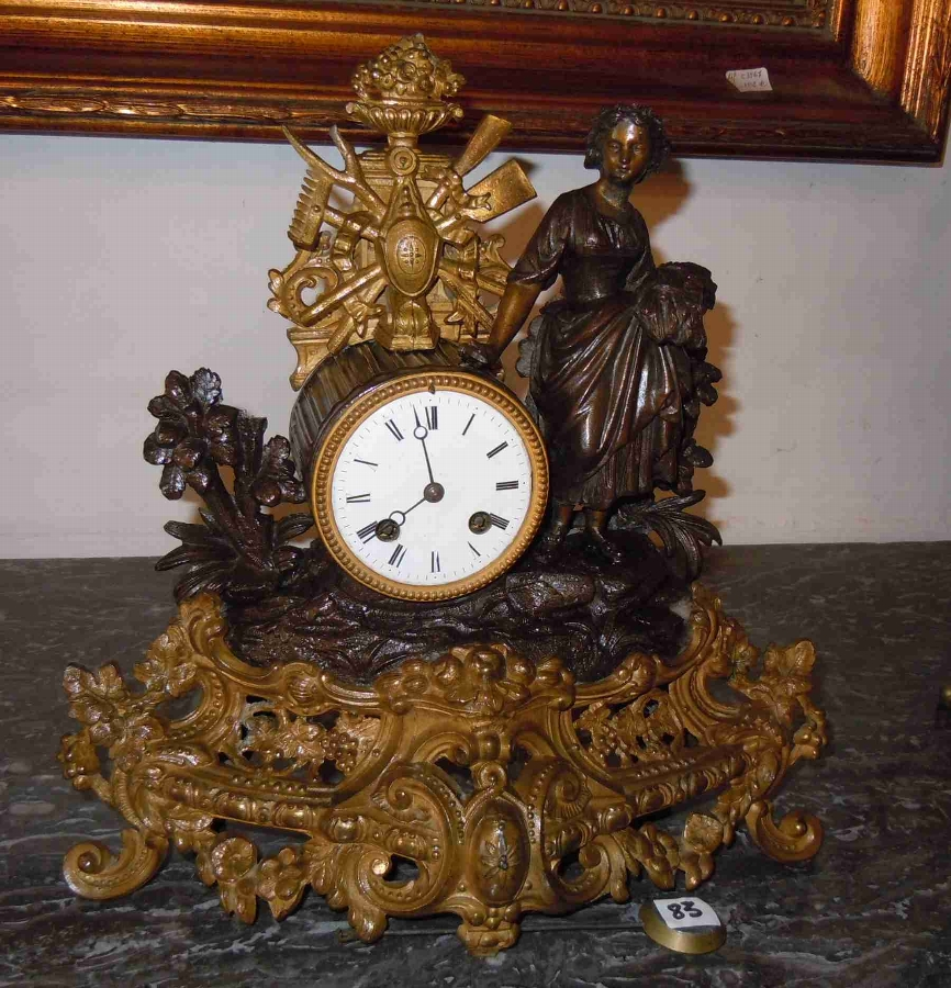 French Romantic gilt spelter mantle Clock with figure