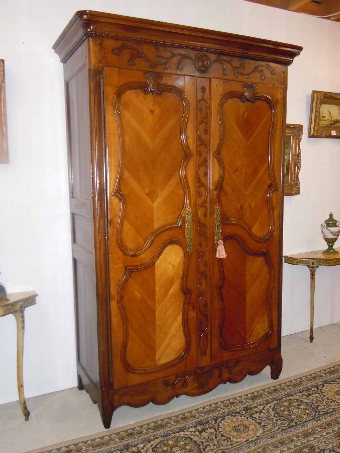 French provincial country 18 C period original marriage cherry Armoire Wardrobe