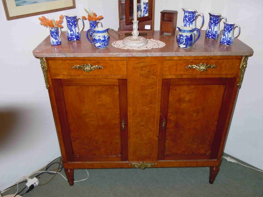 French Antique inlaid burr- walnut sideboard buffet cupboard cabinet with ormolu
