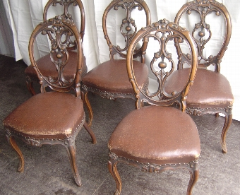 Antique A Set of Five 19th Century Walnut Dining Chairs