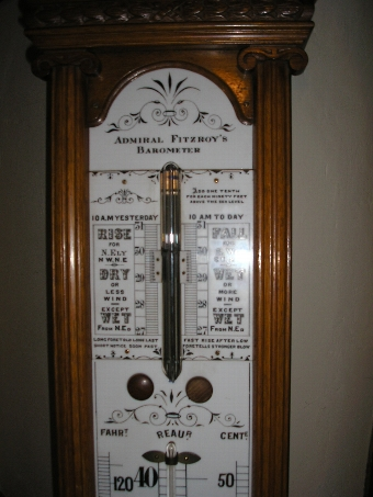 Antique Rare Admiral Fitzroy Barometer with Porcelain Dial