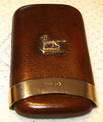 Antique ANTIQUE MAPPIN & WEBB SILVER & LEATHER CIGAR CASE LONDON 1898