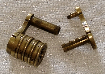 Antique ANTIQUE 19th CENTURY SMALL BRASS COMBINATION LOCK