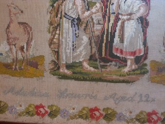 Antique 19th century Woolwork Sampler